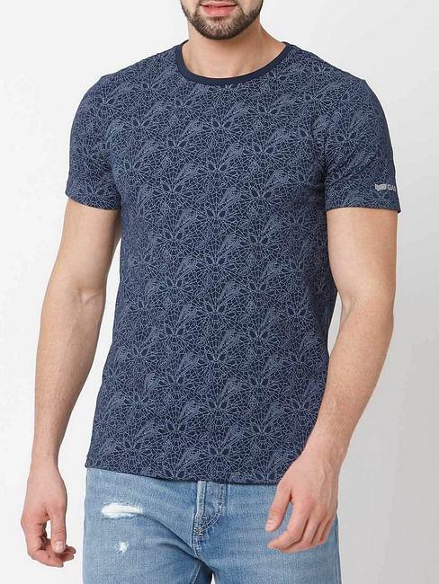 Men's Cobweb printed crew neck indigo t-shirt