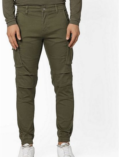 Men's Bob Gym Skinny Fit Olive Cargo Pants