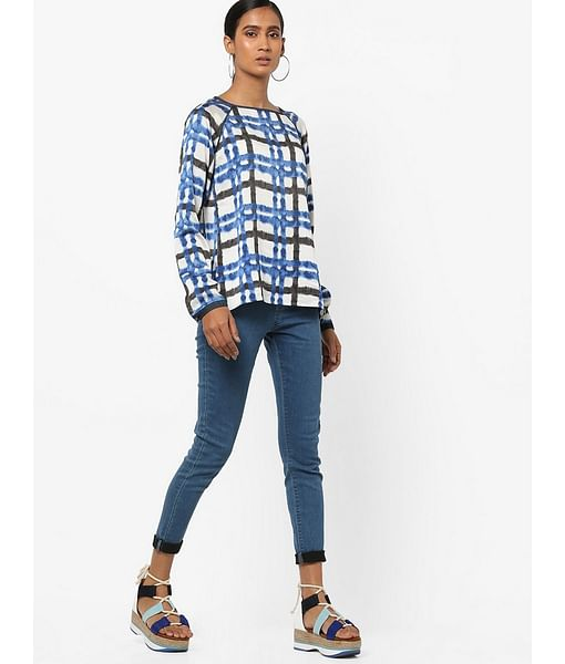 Women's regular fit wide neck full sleeves checked Happy blouse