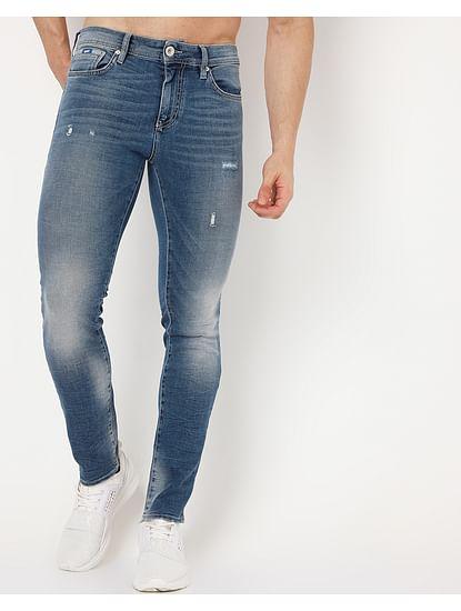Men's Sax Zip Pk Skinny Fit Blue Jeans
