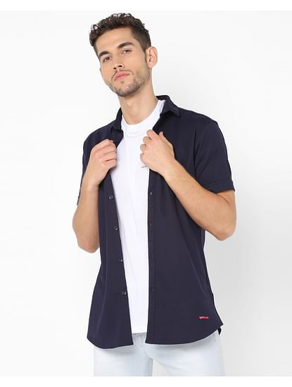 Men's Knit Shirt S/S In Navy Blue Solid Shirts