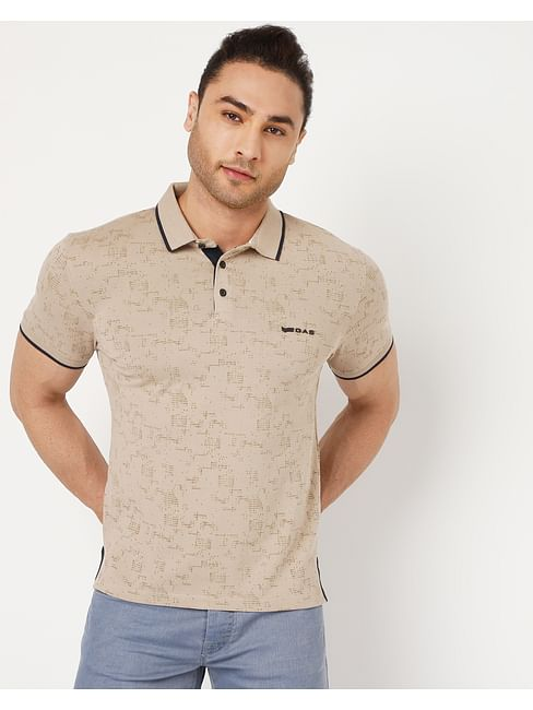 Men's Jhonny In Beige All Over Printed Polo
