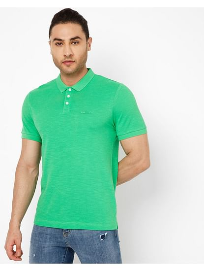 Men's Ralph Fluo In Green Solid Polo