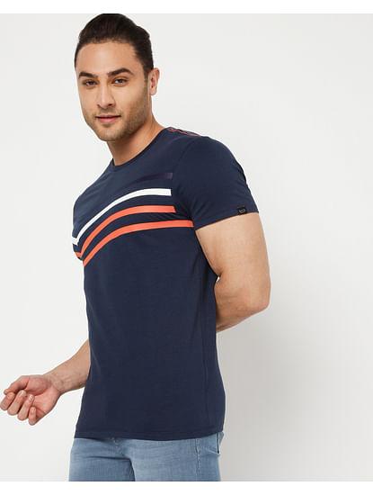Men's Scuba Bb In Navy Blue Printed T-Shirts