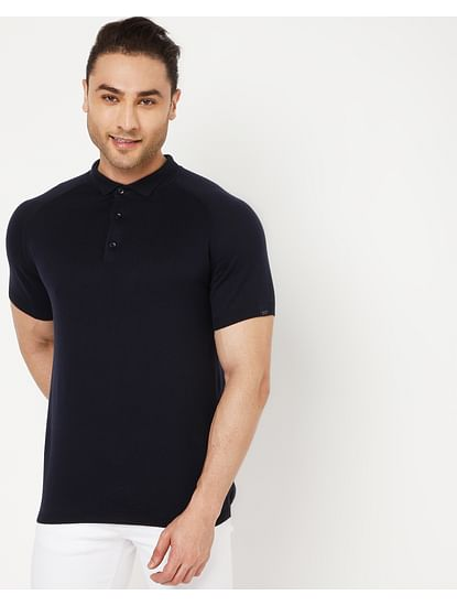 Men's Ryce S/S In Navy Blue Solid Polo
