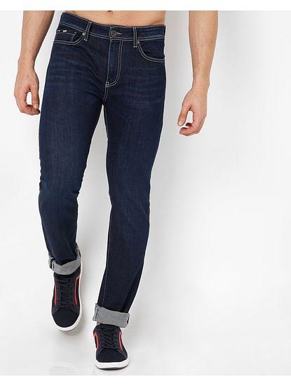 Men's Albert Simple Slim Fit Blue Jeans