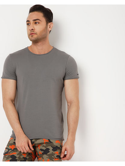 Men's Scuba Raw Edge In Grey Solid T-Shirts