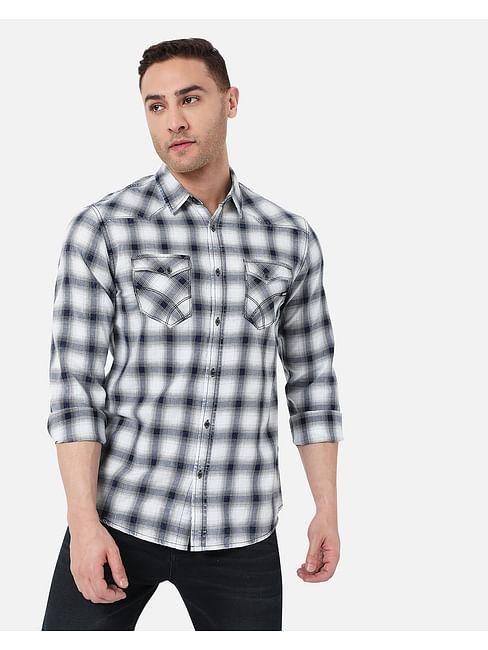 Men's Kant Ec In Slim Fit Checkered shirt