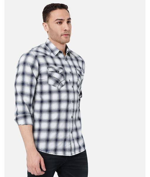 Men's Kant Ec In Slim Fit Checkered shirt