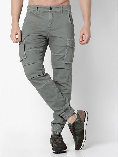 Men's Bob Gym Skinny Fit Grey Cargo Pants