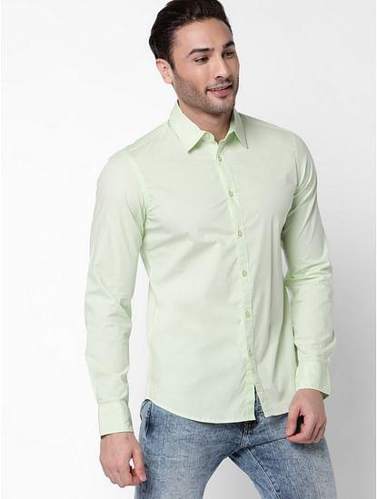 Men's Andrew J Pista Green Full Sleeves Shirt