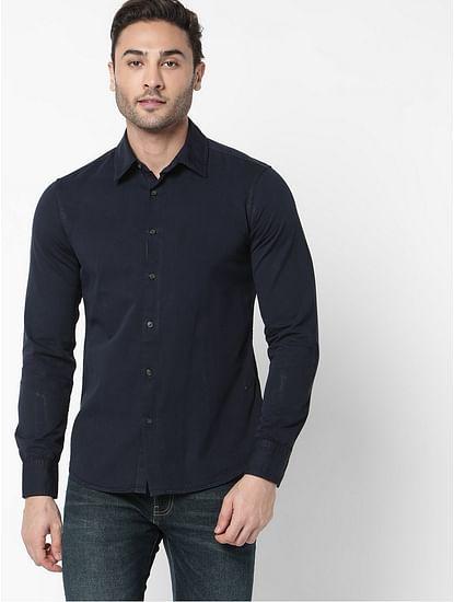 Men's Flix ss solid blue shirt