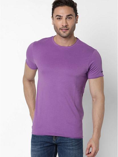 Men's Scuba Basic Solid Round Neck Purple T-Shirt