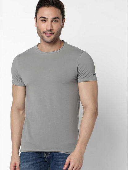 Men's Scuba Basic Solid Round Neck Grey T-Shirt