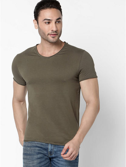 Men's Scuba V Basic Solid V-Neck Ivy Green T-Shirt