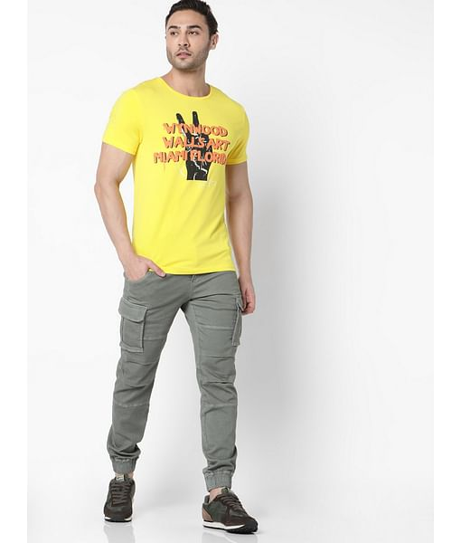 Men's Scuba wyn printed round neck yellow t-shirt