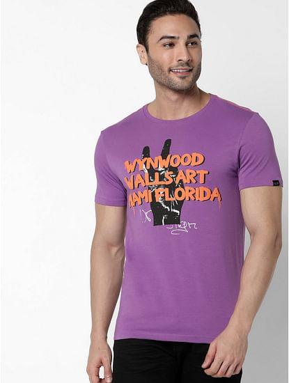 Men's Scuba Wyn Printed Round Neck Purple T-Shirt
