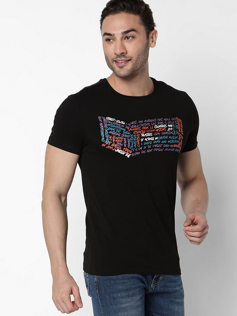 Men's Scuba written printed black t-shirt