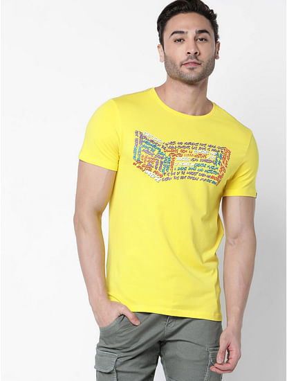 Men's Scuba written printed yellow t-shirt