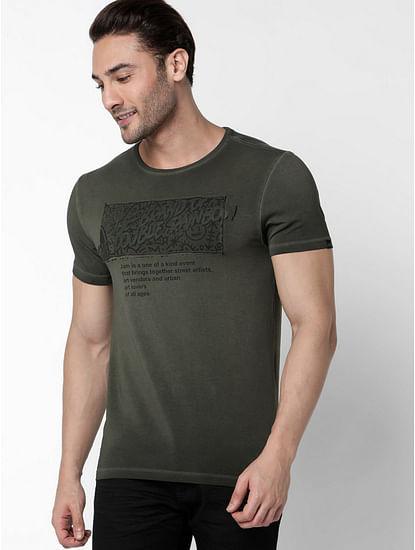 Men's Scuba Jam Printed Round Neck Ivy Green T-Shirt