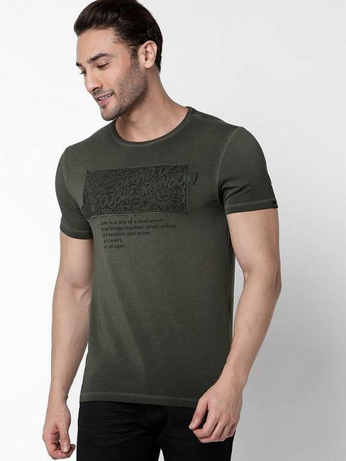 Men's Scuba Jam Printed Round Neck Ivy Green T-Shirt