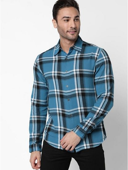 Men's Sir Det Blue Checked Slim Fit Shirt