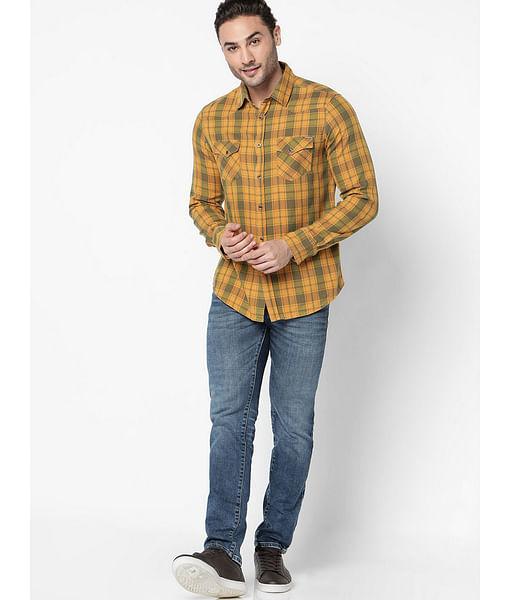 Men's Kant yellow checks shirt