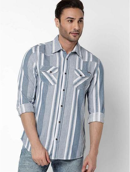 Men's Kant Full Sleeves Indigo Striped Shirt
