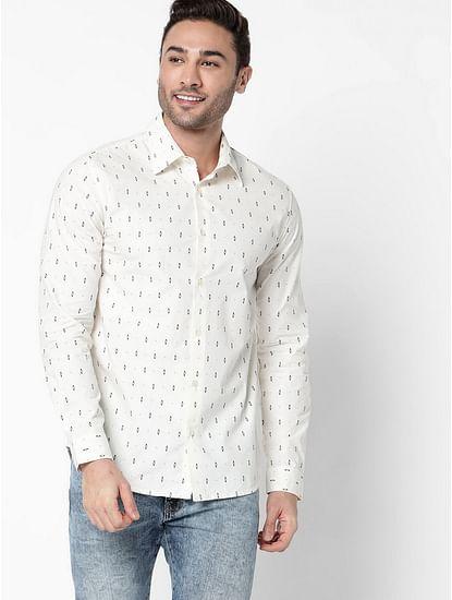 Men's Sir Det Printed Slim Fit White Shirt