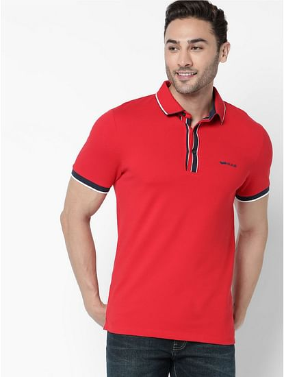 Men's Agap/s solid red polo t-shirt