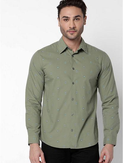 Men's Sir Det Olive Green Full Sleeves Printed Shirt
