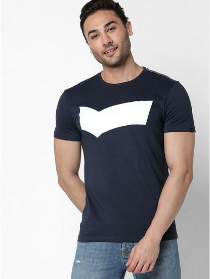 Men's Scuba Logo printed navy blue t-shirt