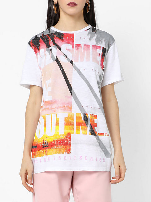 Women's regular fit round neck printed Jexi wake up top