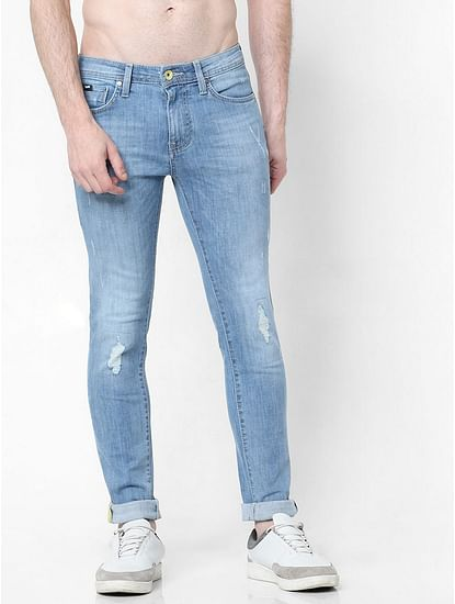 Men's Sax Zip Skinny Fit Blue Distressed Jeans
