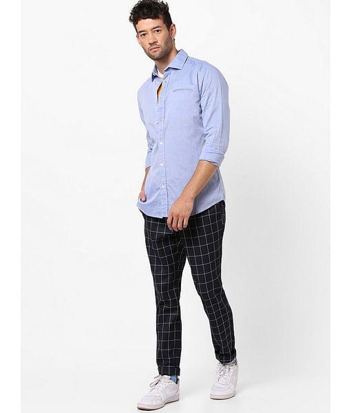 Men's Sasha solid blue shirt