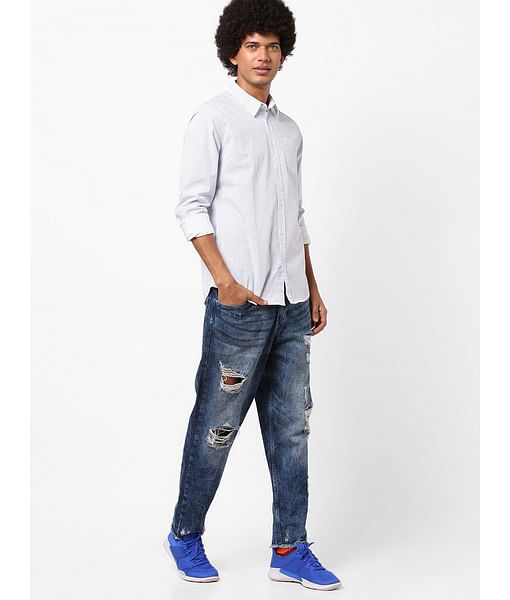 Men's Flix SS all over printed blue shirt