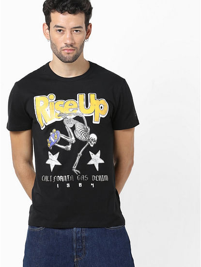 Men's Scuba/s riseup printed black round neck t-shirt