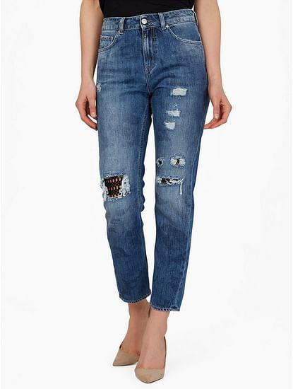 Women's mid wash distressed Dyane jeans