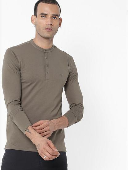 Men's Gawan/s solid henley green t-shirt