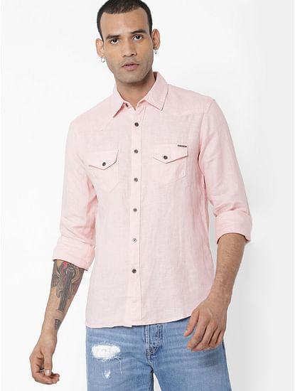 Men's Kant S/S pink linen shirt