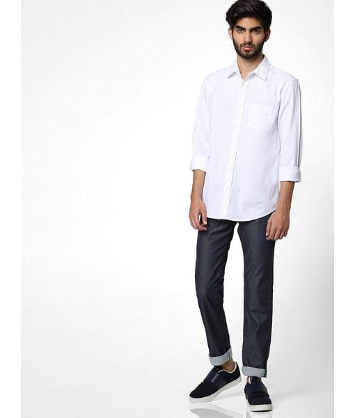 Men's Flix ss solid neck white shirt