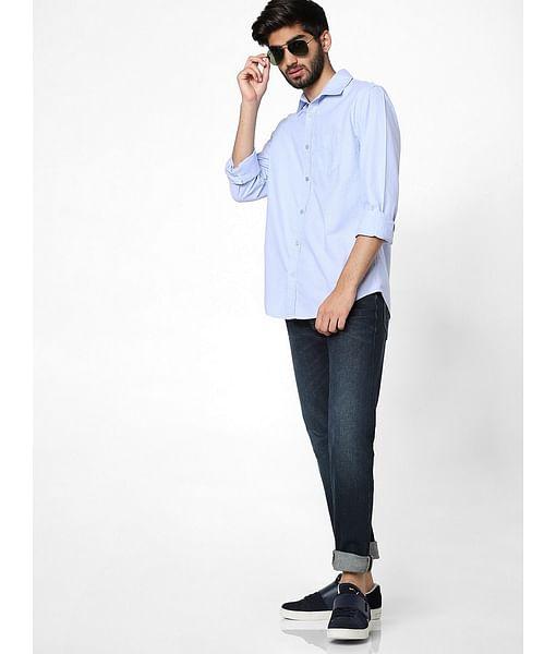 Men's Flix ss solid neck blue shirt