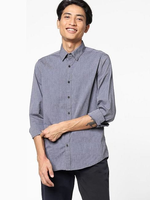 Men's Andrew mix solid neck black shirt