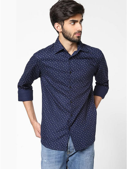 Men's Sir Det Printed Neck Navy Blue Shirt