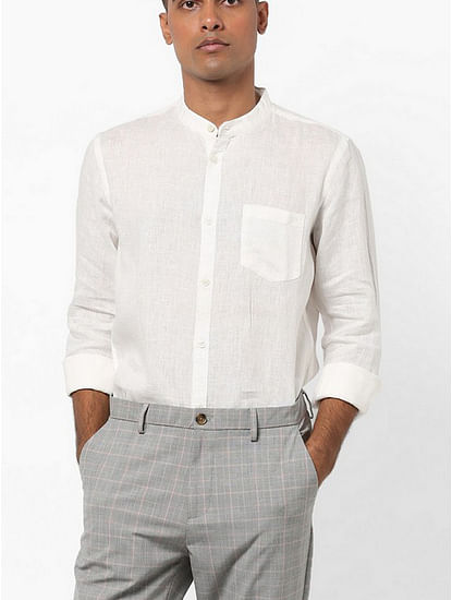 Men's Calwin solid white shirt