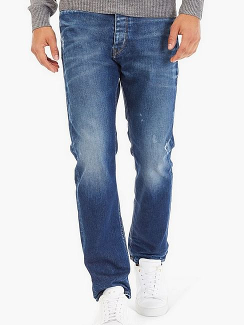 Men's Teo Carrot Fit Mid Blue Distress Jeans