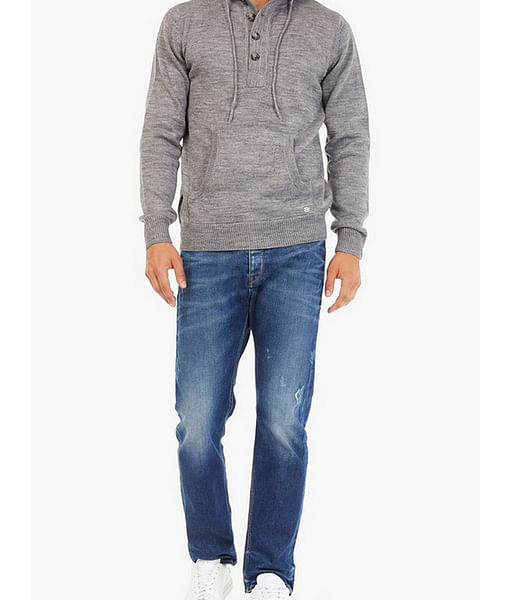 Men's Teo Carrot Fit Mid Blue Distress Jeans