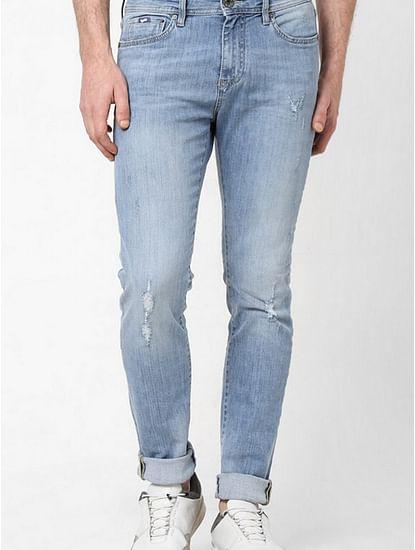 Men's Sax Zip Skinny Fit Mid blue Distressed Jeans