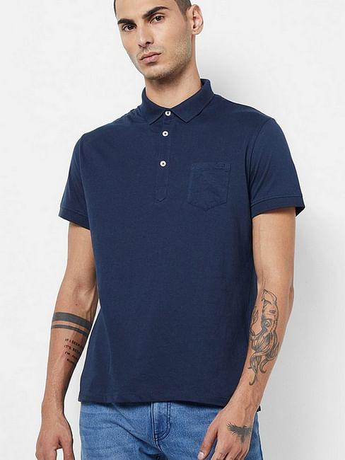 Men's Zed solid blue polo t-shirt