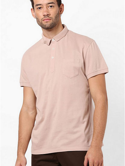 Men's Zed solid light pink polo t-shirt